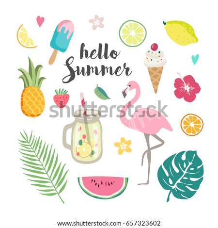 Set of tropical leaves, cute summer icons, ice cream, flamingo bird and tropical flowers