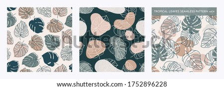 Set of Tropical Monstera Leaves Seamless Pattern. Vector floral background in a trendy minimalistic linear style in pastel colors for printing packaging, fabric, t-shirts, covers, posters. Vol. 4 Stock fotó ©