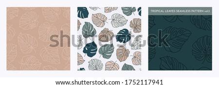 Set of Tropical Monstera Seamless Leaf Patterns. Vector floral background in a trendy minimalistic linear style in pastel colors for printing packaging, fabric, t-shirts, covers, posters. Vol. 3 Stock fotó ©