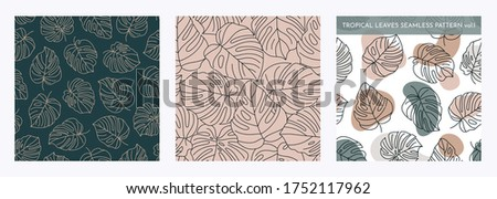 Set of Tropical Monstera Seamless Leaf Patterns. Vector floral background in a trendy minimalistic linear style in pastel colors for printing packaging, fabric, t-shirts, covers, posters. Vol. 1 Stock fotó ©
