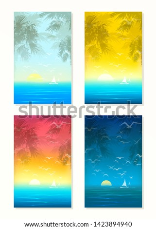 Set of tropical seascapes. Sunrice and sunset illustrations with silhouettes of palms, flying mews and yacht. Beautiful nature, sea or ocean. Portrait orientation. Eps 10 vector illustration.
