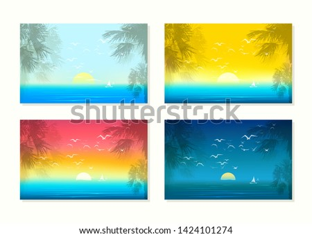 Set of tropical seascapes. Sunrice and sunset illustrations with silhouettes of palms, flying mews and yacht. Beautiful nature, sea or ocean. Landscape orientation. Eps 10 vector illustration.