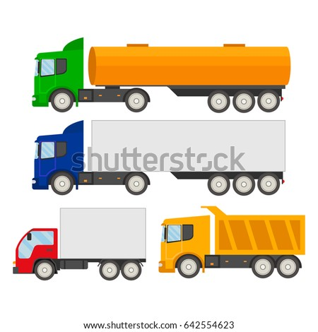 Set of trucks icons.Trucks and trailers on a white background. Delivery and shipping cargo trucks and semi-trucks. Flat style design vector illustration.