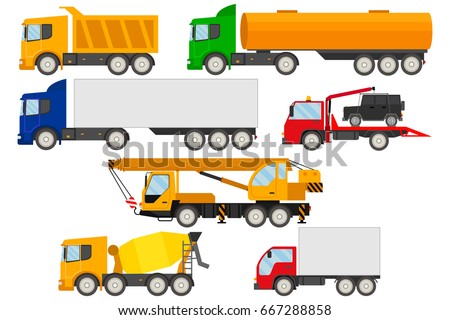 Set of trucks icons.Trucks, trailers, tow truck and truck crane on a white background. Delivery and shipping cargo trucks and semi-trucks. Flat style design vector illustration.