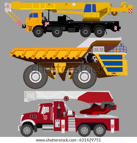 set of trucks quarry dump