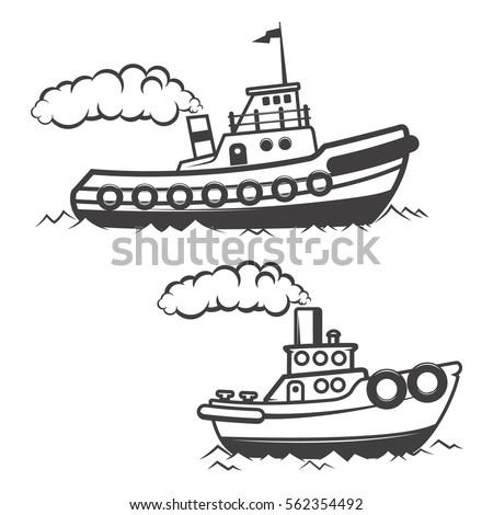 Set of tugboat illustration isolated on white background. Boat icon. Design elements for logo, label, emblem, sign, brand mark. Vector illustration.