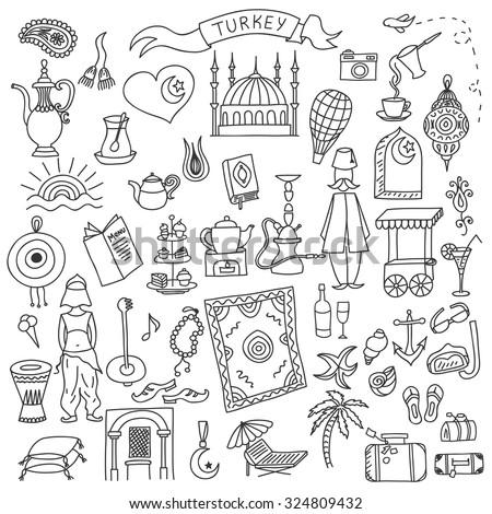 set of turkey icons doodle