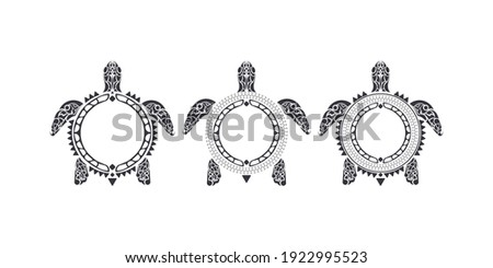 Set of turtle pattern in Tribal Polynesian style. Maori and Polynesian culture pattern. Isolated. Vector illustration.