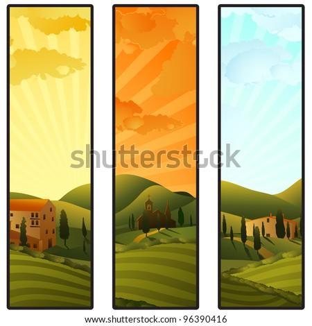 Set of Tuscany landscape banners