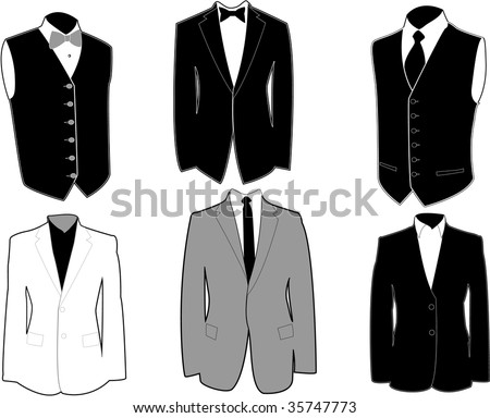 stock vector : Set of tuxedos in black and white, easily editable,