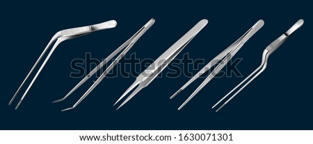 Set of tweezers. Long serrated angled tweezers, anatomical forceps, dental straight surgical pincers, curved tweezers, bayonet pincette. Manual surgical instrument.  Vector illustration ストックフォト ©