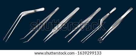 Set of tweezers. Long serrated angled tweezers, anatomical forceps, dental straight surgical pincers, curved tweezers, bayonet pincette, tumor grasping forceps. Manual surgical instrument. Vector ストックフォト ©