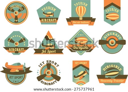 set of twelve aircraft badges