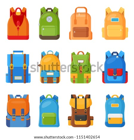 Set of twelve colored school vector backpacks. Education and study flat collection, back to school, schoolbag luggage, rucksack