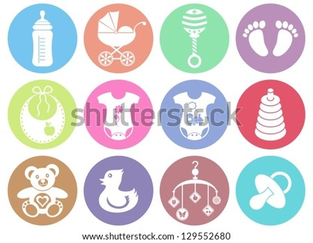 Set of twelve colorful baby boy and girl icons