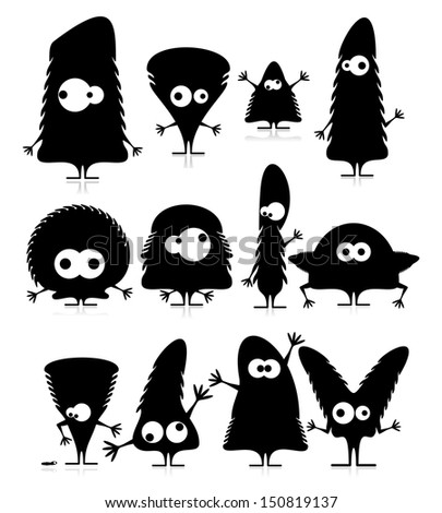 Set of twelve cute black monsters