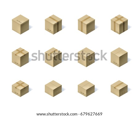 Set of twelve isometric cardboard boxes isolated on white background. Vector illustration