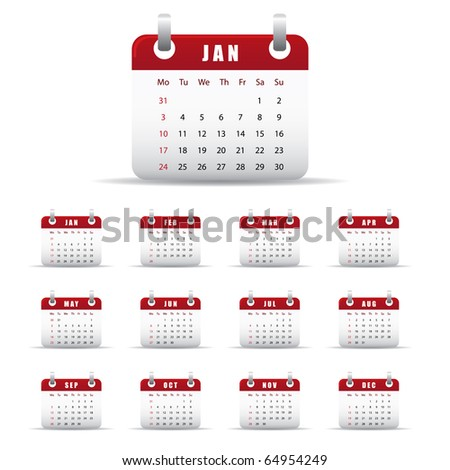 Set of twelve monthly calendars for 2011