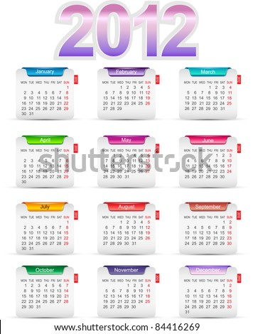 Set of twelve monthly calendars for 2012