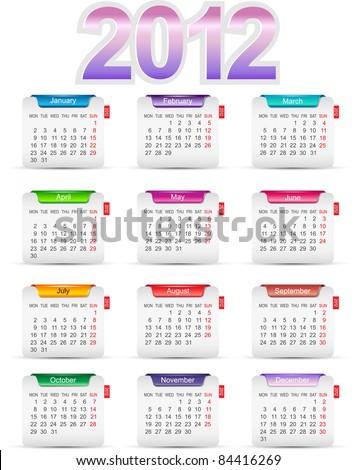 Set of twelve monthly calendars for 2012 Сток-фото ©