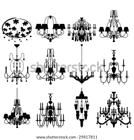 Set of twelve silhouettes of luxury chandeliers