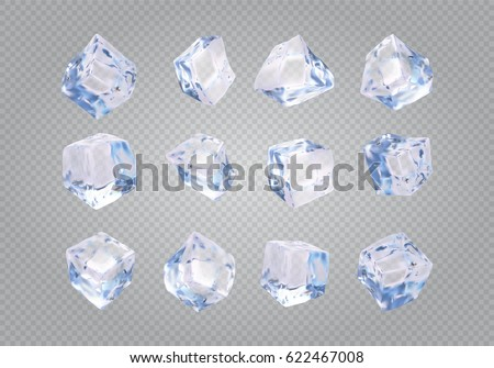 Set of twelve transparent ice cubes. 3d realistic vector mesh.