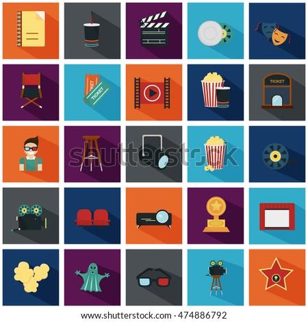 Set of twenty five color flat icons
