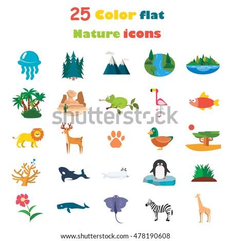 Set of twenty five color flat nature icons