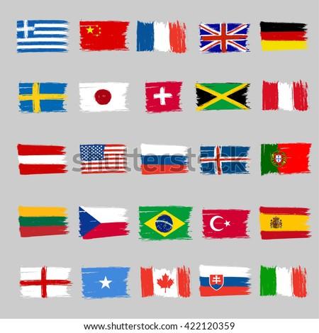 Set Of Twenty Five Grunge Flags #422120359