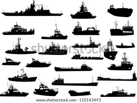 Set of 24 (twenty four) silhouettes of sea yachts, towboat, battleship and ships