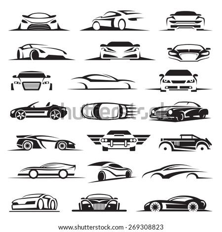 set of twenty one car icons