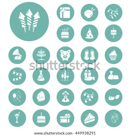 set of twenty seven party icons