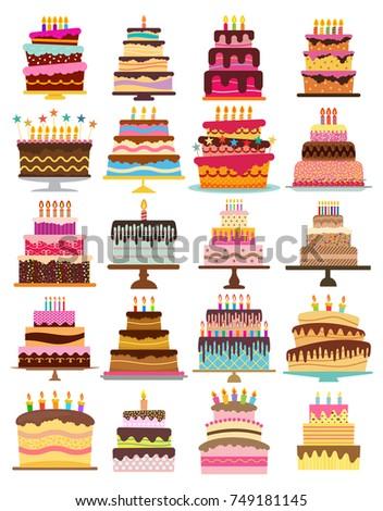Set of twenty sweet birthday cakes with burning candles. Colorful holiday dessert. Vector celebration background.