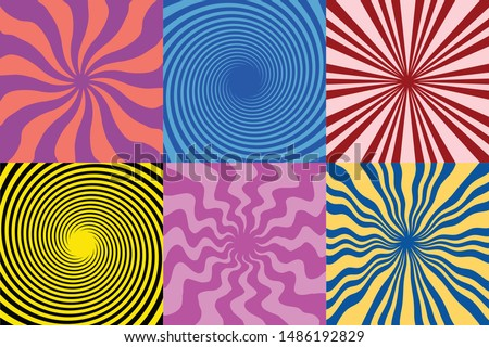 set of 6 Twirl Swirl Sunburst Spin 70s Retro colors abstract  backgrounds Vintage  and spiral sunburst background vectors  Photo stock ©