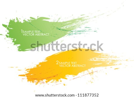 set of two abstract banners vector background brush strokes illustration