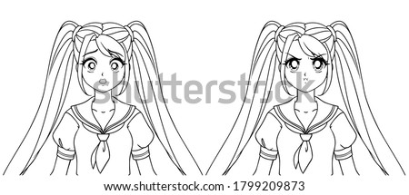 set of two anime expressions