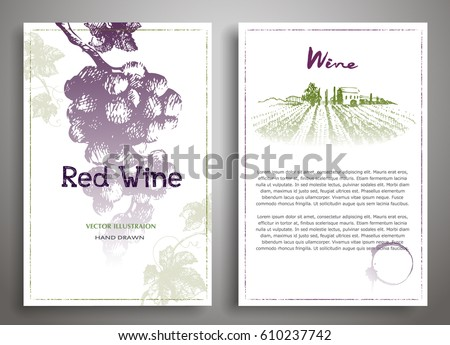 set of two art background wine