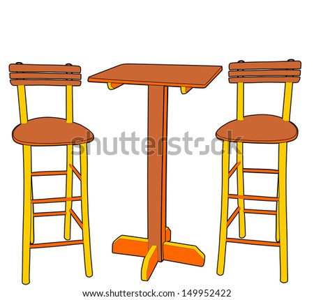 Set Of Two Bar Stools And Table Vector Isolated On White Background Fast Food Interior