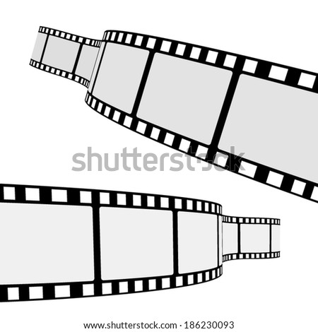Set of two blank cinema film strip frames with different shape curve and empty space for your movie photograph and picture. EPS 10 vector illustration isolated on white background.