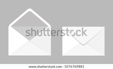 Set of two blank realistic envelopes for documents. An envelope template for your design.