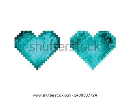 set of two blue stylized hearts
