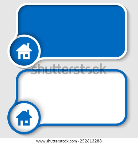set of two blue text frames and