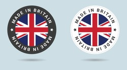 Set of two British stickers. Made in Britain. Simple icons with flags.