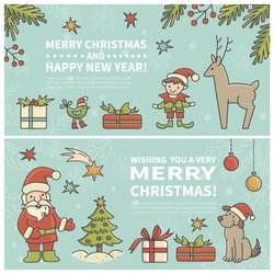 Set of two cartoon Christmas cards. Every  element is located on a separate layer. Images are cropped with Clipping Mask. Easy to edit