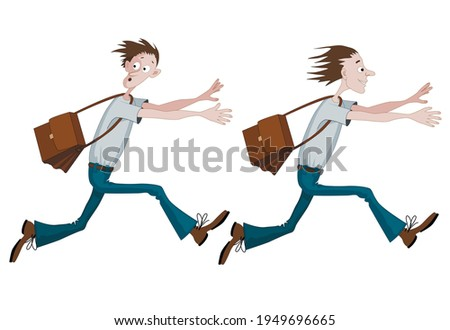 Set of two characters with opposite emotions; first man is running fast with bag scared with something, he is looking back and second one is running fast with bag towards something or someone, happy. Stockfoto ©