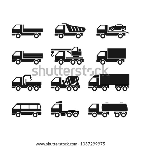 Set of Two Color Icons of Trucks on a White Background. Trucks of Different Function.