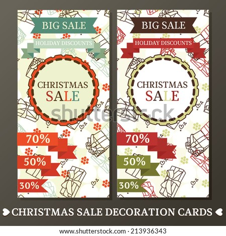 set of two cute cards for christmas sale, vector illustration #213936343