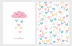 Set of Two Cute Vector Illustrations. Pink Smiling Cloud with Dropping Hearts. Pink Baby Shower Text. White Background. Colorful Bright Hearts Vector Pattern. Lovely Baby Shower Illustration.