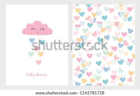 Set of Two Cute Vector Illustrations. Pink Smiling Cloud with Dropping Hearts. Pink Baby Shower Text. White Background. Colorful Bright Hearts Pattern.