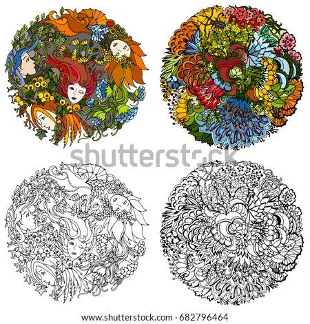 set of two floral decorative